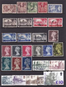 Great Britain a selection of used high values KGV to QE2