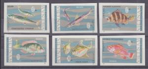 Viet Nam Dep Rep Sc 463-468 NGAI. 1967 Fish, imperf cplt VF