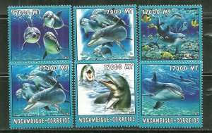 Mozambique MNH 1653A-F Dolphins Marine Life 2002 SCV 9.50