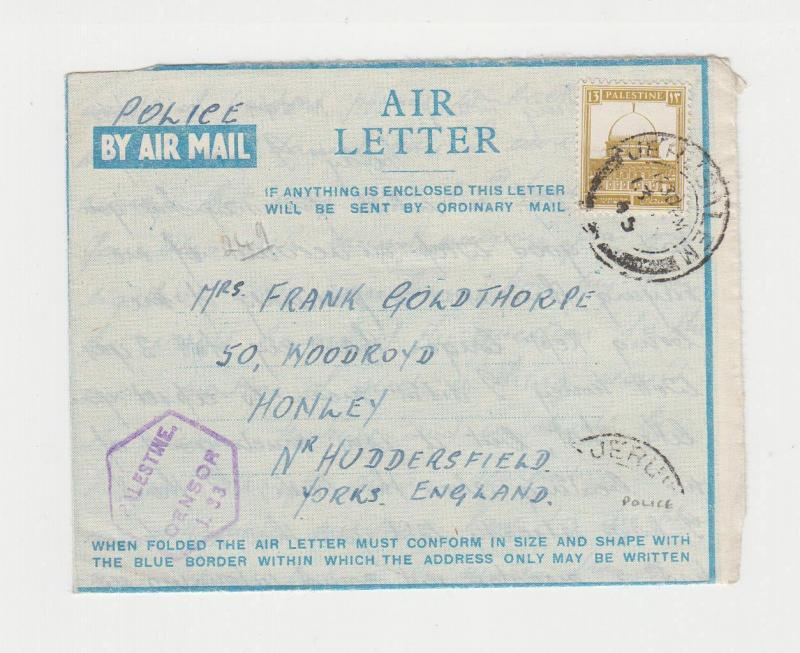 PALESTINE -UK 1945 AIR LETTER, CENSORED PASSED BY MISSING, POLICEHANDWRITTEN