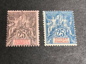 French Sudan Scott 12-13 Mint OG CV $40.50