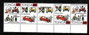 Tonga-Sc#811- id2-Unused NH block-Don't Drink & Drive-Helmets Save Lives-1992-3-