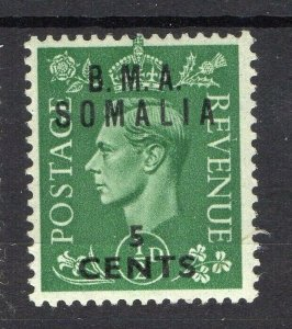 BMA Somalia 1950s Early Issue Fine Mint Hinged 5c. Surcharged Optd NW-14618