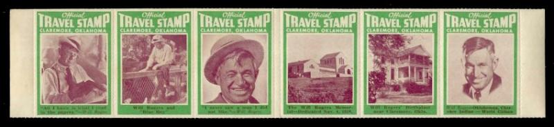US - Will Rogers Claremore, OK Poster Stamps Strip of 6