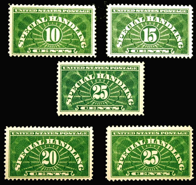 #QE1-QE4 10c-25c Green Specl Handling w/ 'AT' Error MLH NICE Fresh Set