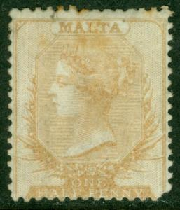 EDW1949SELL : MALTA 1863 Scott #1 Mint No Gum. Scarce stamp. Catalog $800.00.