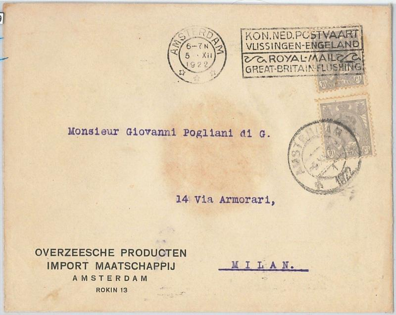 58189 - NETHERLANDS - POSTAL HISTORY: COVER to ITALY 1922 - ADVERTISING Postmark