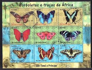 St. Thomas, 2004 issue. Butterflies sheet of 9. Canceled. ^