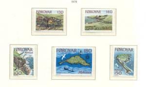 Faroe Islands Sc  31-5 1978 Mykines Island stamp set mint NH