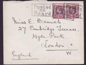St Lucia Posted on Board handtsamp for London England Unusual Ship on cover
