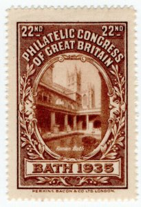 (I.B) Cinderella : 22nd Philatelic Congress (Bath 1935) Roman Bath