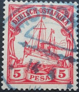 German East Africa 1901 Five Pesa with MOHORRO in blue postmark