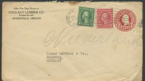 US MARSHFIELD, OR 7/3/1920 2 CENT UPRATED STAMPED ENVELOPE TO HAMBURG, GERMANY