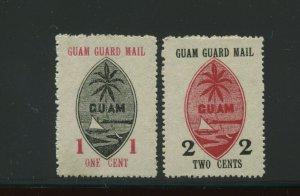 Guam Guard Mail M3-M4 Set of 2 Unused Stamps (Stock Guam M1-2)
