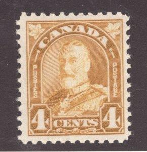 #168 - Canada - 1930 KGV - 4 Cent Yellow Bistre - MNH -VF- superfleas - cv$50