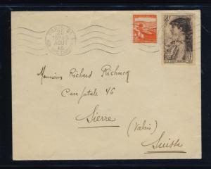 FRANCE - 1945 - Yv.736 & 738 sur PLI de PARIS pour la SUISSE (0293)