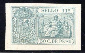 Puerto Rico, 1898, 50 C., Impresed Duty, Allegories, #77, MHOG, Thin under SELL