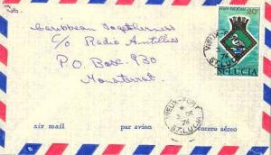 Saint Lucia 20c Arms of H.M.S. Pelican 1976 Vieux-Fort, St. Lucia Airmail to ...