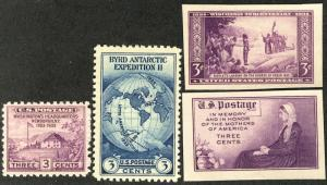US #752, 753, 754, 755 VF mint never hinged,  no gum as issued,   a fresh set!