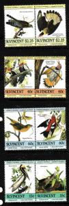 St. Vincent-Sc#807-10-Unused NH set-Birds-Audubon-1985-