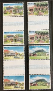 1985 Nevis Sc# 280-3, Tourism - Hotels and Inns, Gutter Pairs