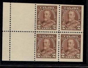 Canada Sc 218a 1935 2c brown G V Bklt pane of 4 mint