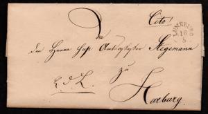 $German Stampless Cover, Luneburg-Harburg, full date (1842)