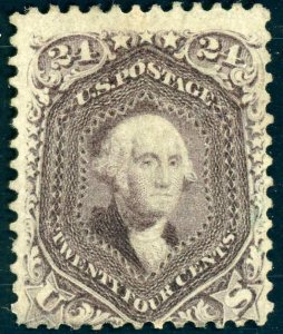 1861 24¢  VIOLET #70C REMOVED CANCELVERY RARE EXAMPLE CAT $2250 CERT