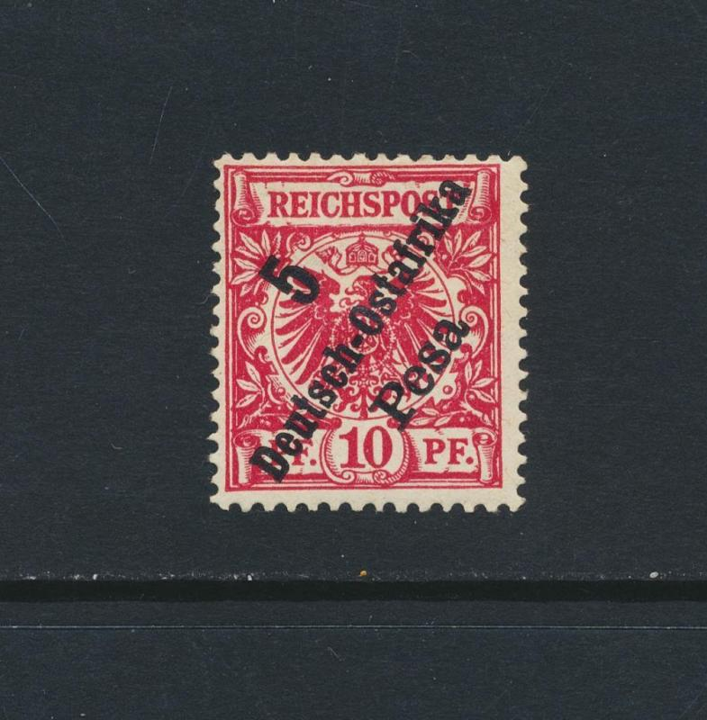 GERMAN EAST AFRICA 1896, 5p on 10pf RED CARMINE SIGNED, VF MLH Mi#8b (SEE BELOW)