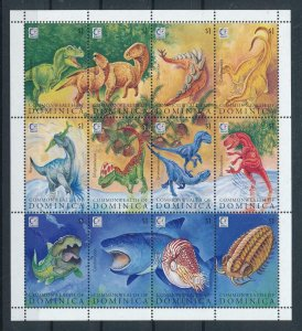 [107169] Dominica 1995 Prehistoric animals dinosaurs Marine life Sheet MNH