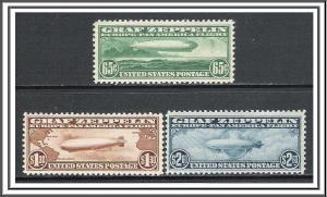 US #C13-C15 Airmail Zepplins MH