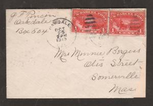 US Sc Q1, two 1c Parcel Posts on 1913 cover to Mass 2;0