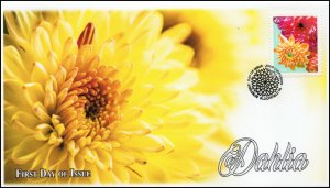 CA20-006, 2020, Dahlia, Pictorial Postmark, First Day Cover, Yellow