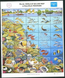 PALAU Sc#1203 1986 AMERIPEX Fish World of Sea & Reef Souvenir Sheet Set OG MNH