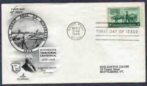 US Scott #981 Minnesota Territory Centenary ArtCraft FDC (1949)