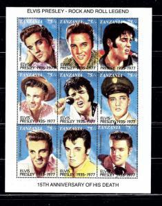 Tanzania 808 MNH 1992 Elvis Presley sheet of 9