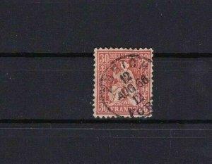 SWITZERLAND  1862 30c RED USED STAMP CAT £50  REF R4047