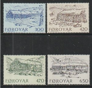 1987 Faroe Islands - Sc 152-5 - MNH VF - 4 single - Farmhouses