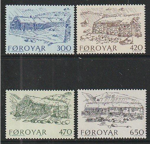 1987 Faroe Islands - Sc 152-5 - MNH VF - 4 single - Farmhouses