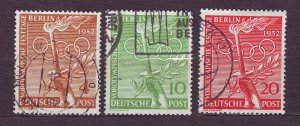 J23213 JLstamps 1952 berlin germany set used #9n81-3 olympic symbols