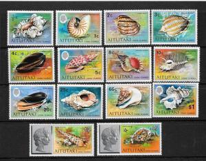 AITUTAKI  1974-75  SEASHELLS    SET 14    MNH     Sc 82/95