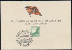 GERMANY 1939 SOUVENIR CARD FOR FLIGHT OF THE GRAF ZEPPELIN KASSEL FLUGHAFEN, VF