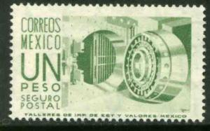 MEXICO G17 $1Peso 1950 Definitive 2nd Printing wmk 300 MINT, NH. VF.