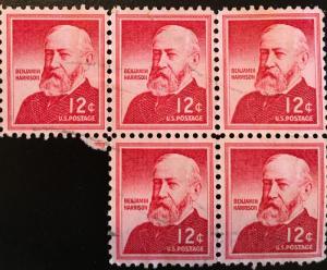 1045, Benjamin Harrison, Circulated Block of 5, Vic's Stamp Stash