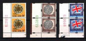 GB REVENUES National Savings Blocks of 2 {3} 2/- Very Scarce 1967-1968 1339a