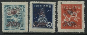Korea 3 overprinted with new values unmounted mint NH