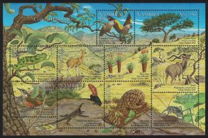 Namibia Parrot Birds Pangolin Klipspringer Flora and Fauna 10v Sheetlet