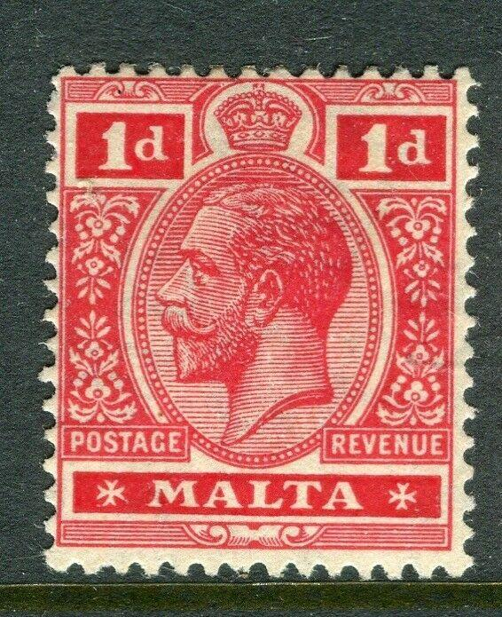MALTA; 1914-21 early GV issue fine Mint hinged shade of 1d. value