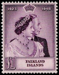 FALKLAND ISLANDS SG167, £1 mauve, LH MINT. Cat £90.