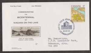 CANADA  Scott # 897 On 1981 FDC - Niagara On The Lake Scarce NR Covers Cachet